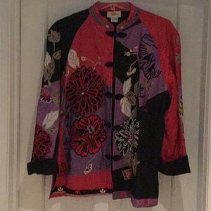 Jackets & Blazers - Embroidered jewel colored lined jacket